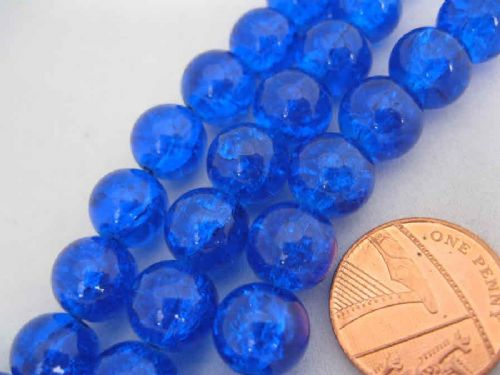 Crackle Glass Round Beads 10mm Royal Blue (20)